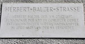Gedenktafel an Herbert Balzer
